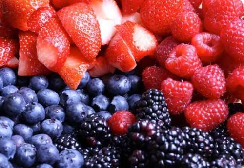 Cut up berries