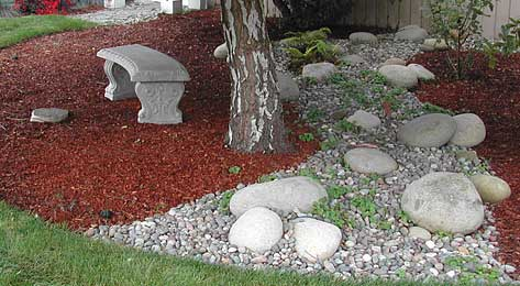 Rock and gravel landscaping
